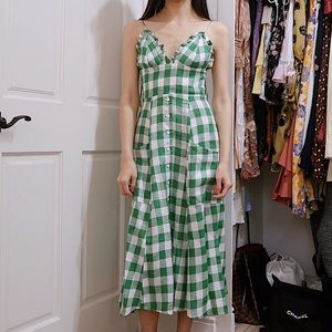 Reformation Brienne Dress in Kelly Check